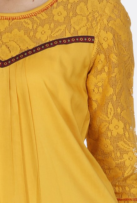 Fusion Beats Yellow Lace Tunic