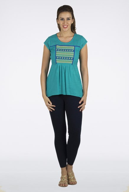 Fusion Beats Turquoise Printed Top