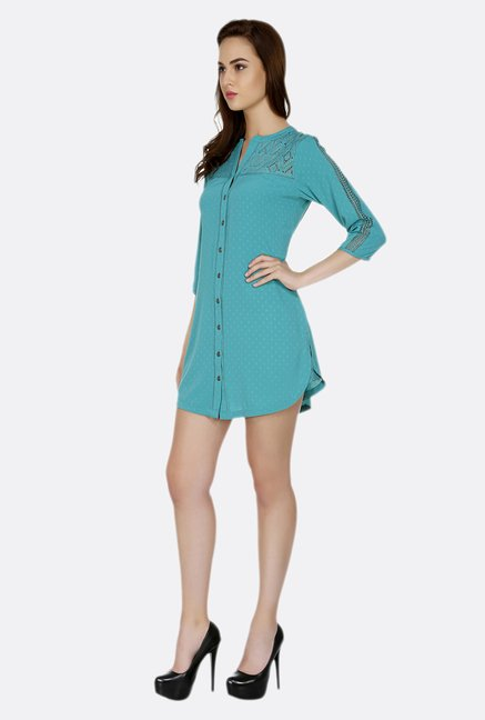 Fusion Beats Turquoise Self Printed Tunic