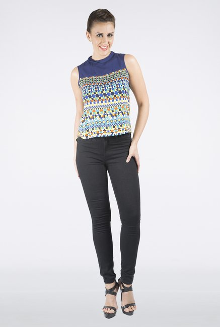 109 F Navy Printed Sleeveless Top