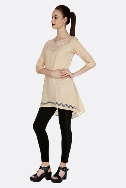 Fusion Beats Beige Self Printed Tunic