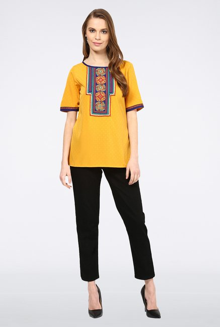 Fusion Beats Yellow Embroidered Top