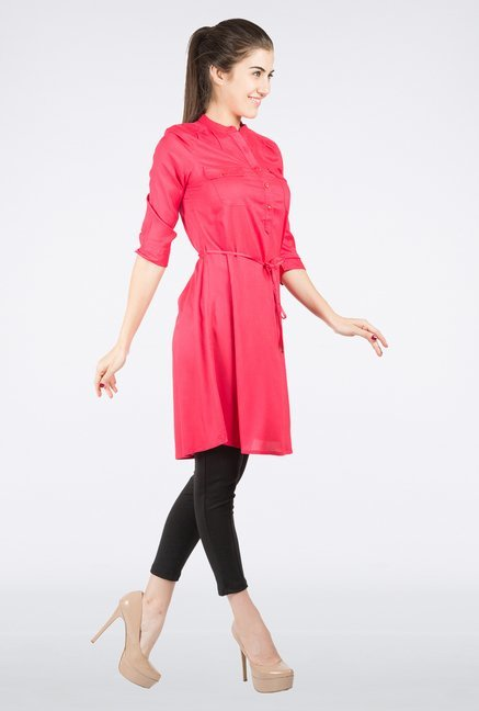 109 F Pink Solid Tunic