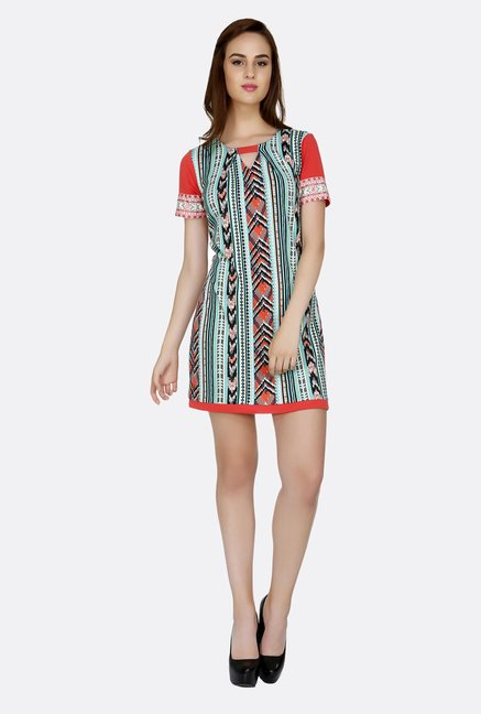 Fusion Beats Multicolor Printed Short Sleeves Tunic