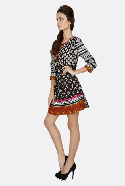 Fusion Beats Black Printed 3/4th Sleeves Tunic