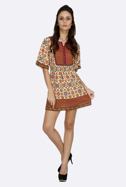 Fusion Beats Beige Floral Printed Tunic