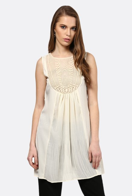 Fusion Beats Beige Self Printed Sleeveless Tunic