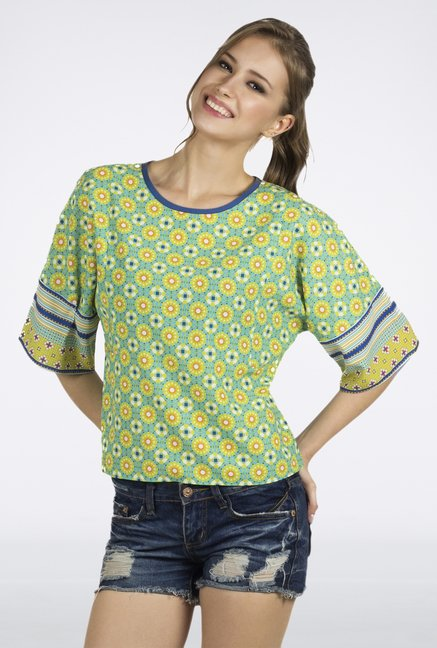 Fusion Beats Lime Printed Crop Top