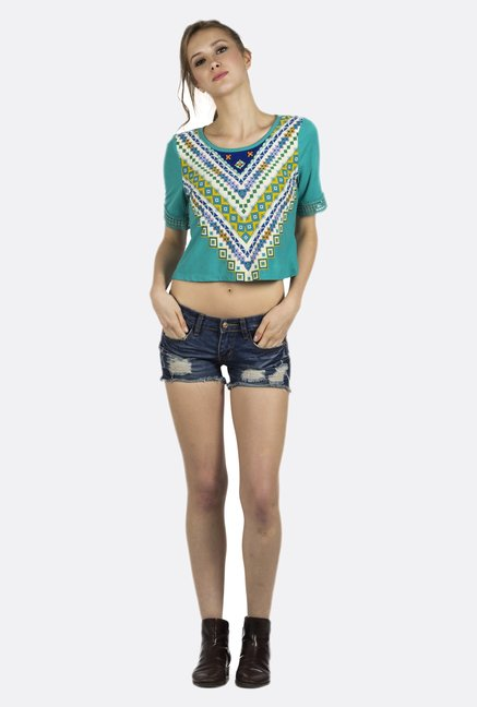 Fusion Beats Turquoise Printed Crop Top