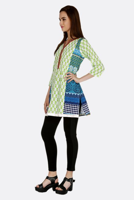 Fusion Beats Green Printed Tunic