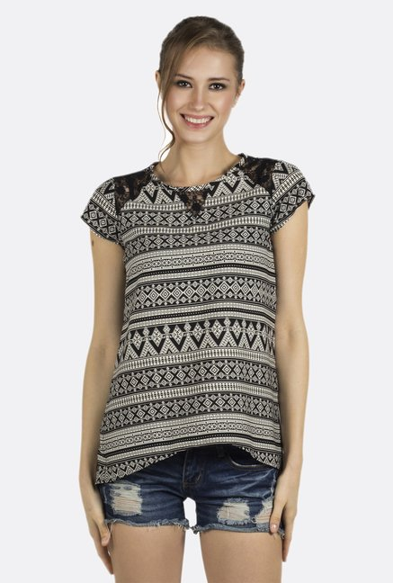 Fusion Beats Black Printed Cap Sleeves Top