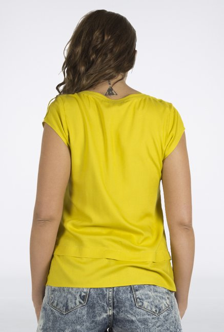 Fusion Beats Yellow Self Printed Top