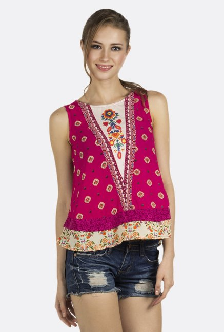 Fusion Beats Pink Floral Printed Top