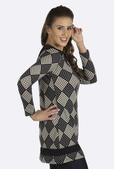 109 F Black Printed Tunic