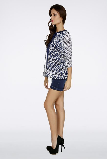 Fusion Beats Navy Printed Top