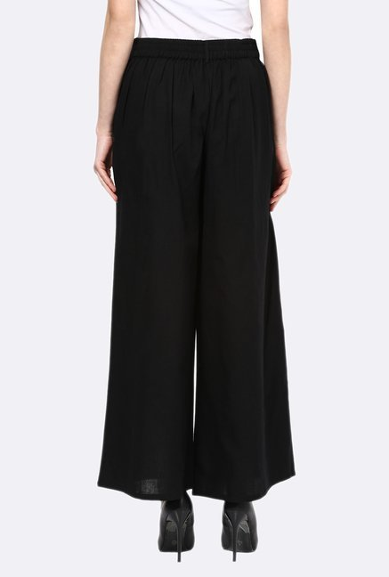 109 F Black Solid Cotton Palazzos