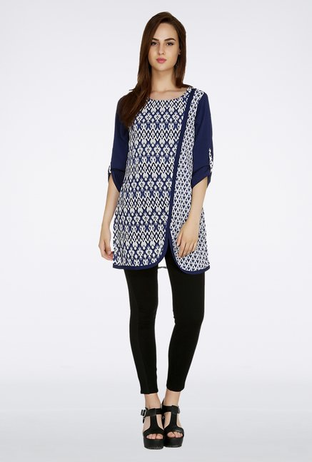 Fusion Beats Navy Printed Tunic
