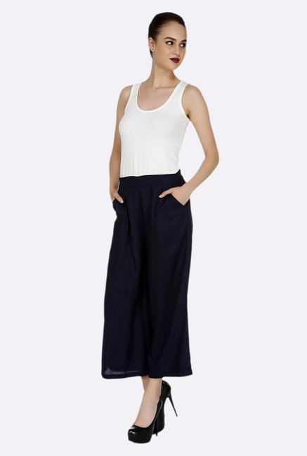 109 F Dark Blue Solid Culottes