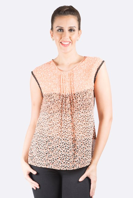 109 F Pink & Black Printed Sleeveless Top