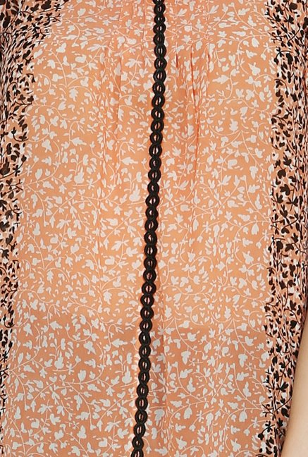109 F Peach & Black Printed Tunic