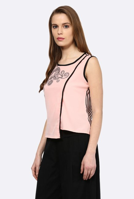 109 F Light Pink Printed Asymmetric Top