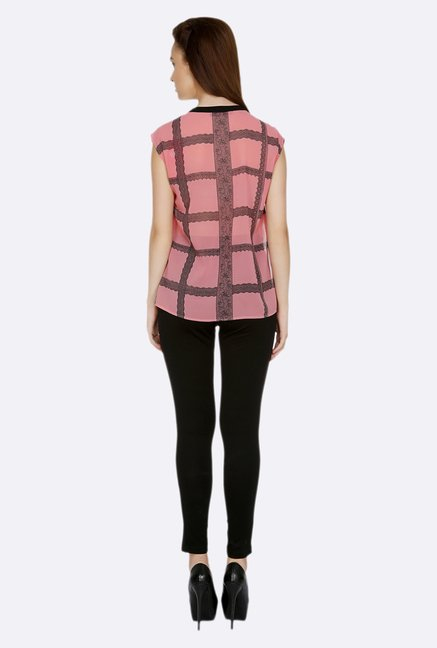 109 F Pink & Black Printed Top