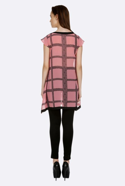 109 F Pink & Black Printed Tunic