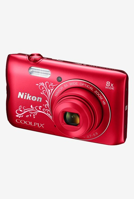 Nikon Coolpix A300 Point & Shoot Camera (Red Pattern)
