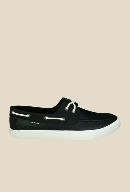 US Polo Assn. Black Boat Shoes