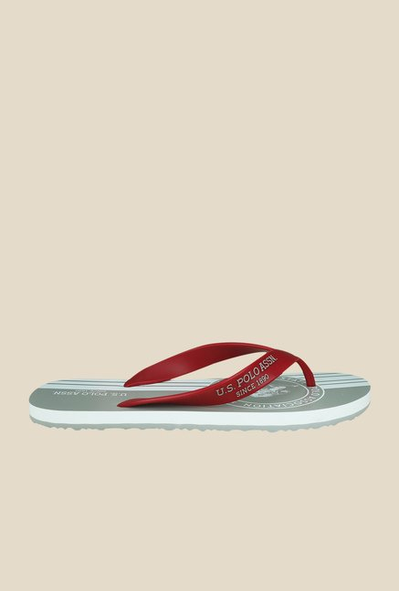 US Polo Assn. Classic Red & Grey Flip Flops