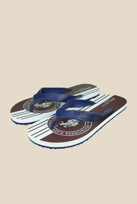 US Polo Assn. Classic Navy & Dark Brown Flip Flops