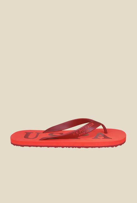 US Polo Assn. Summer Red & Orange Flip Flops