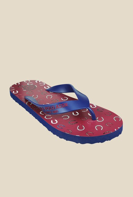 US Polo Assn. Horse Navy & Red Flip Flops