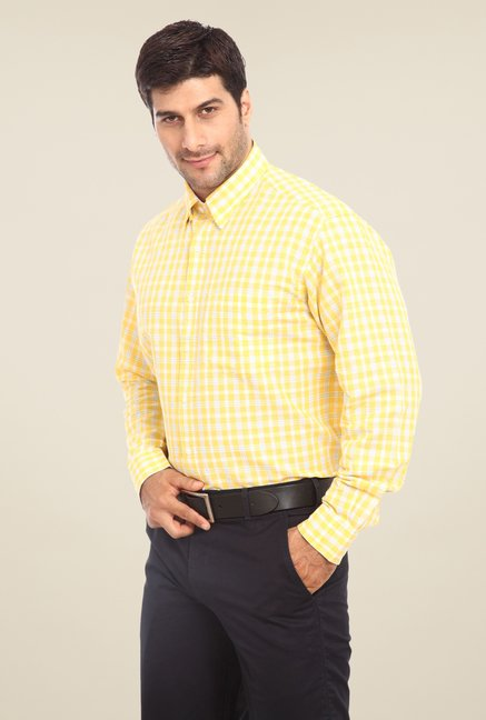 ColorPlus Yellow Checks Shirt