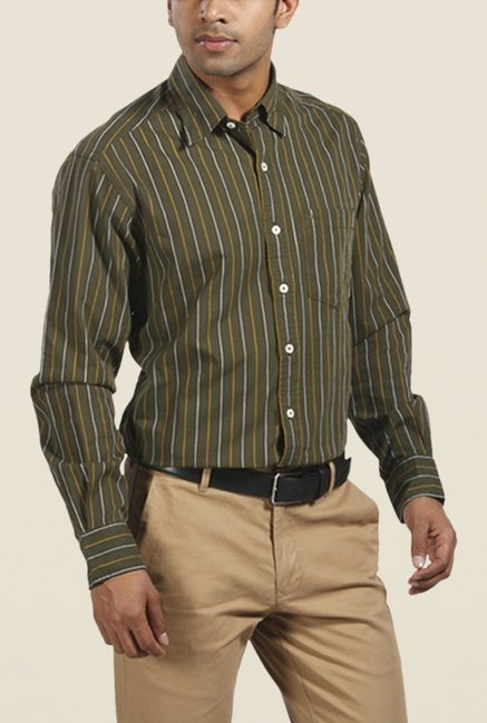 ColorPlus Olive Striped Shirt