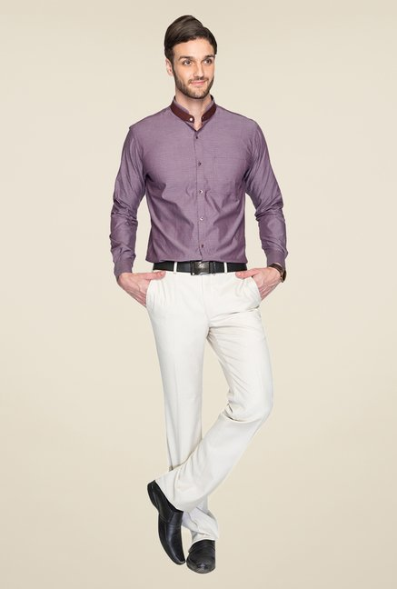 Park Avenue Purple Printed Cotton Shirt