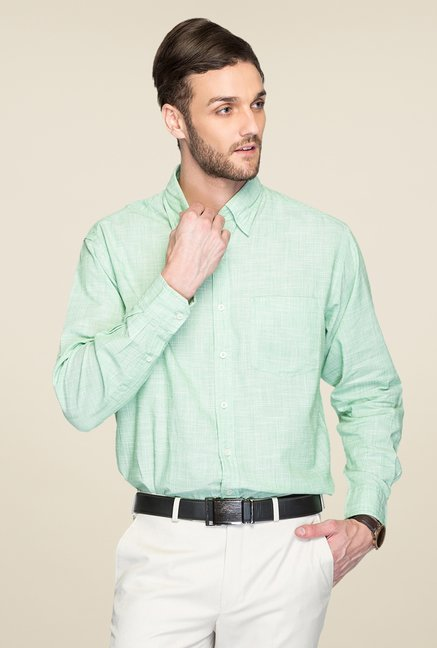 ColorPlus Green Textured Shirt