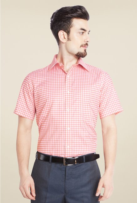 Park Avenue Light Orange Checks Cotton Shirt