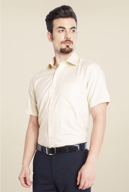 Park Avenue Light Yellow Printed Cotton Shirt