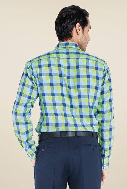 ColorPlus Navy Checks Linen Shirt
