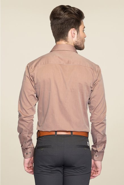 Park Avenue Brown Striped Cotton Shirt