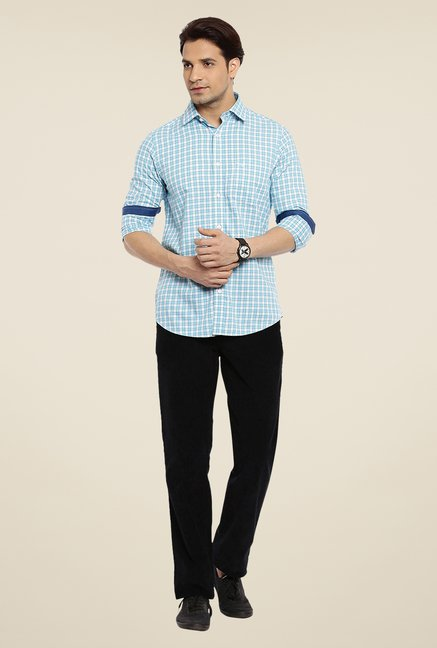 ColorPlus Sky Blue Checks Shirt