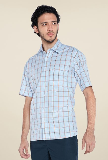 ColorPlus Light Blue Checks Shirt