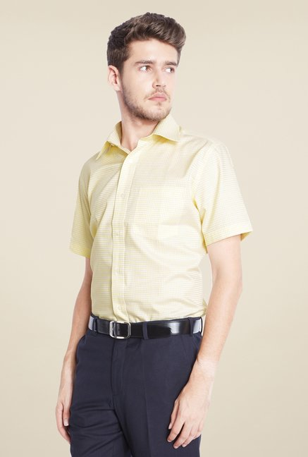 Park Avenue Yellow Checks Cotton Shirt