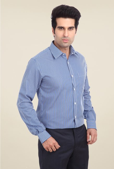 Park Avenue Navy Striped Cotton Shirt
