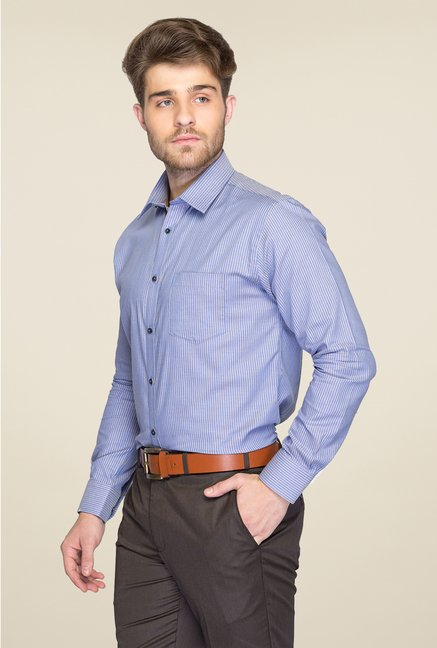 Park Avenue Blue Striped Cotton Shirt