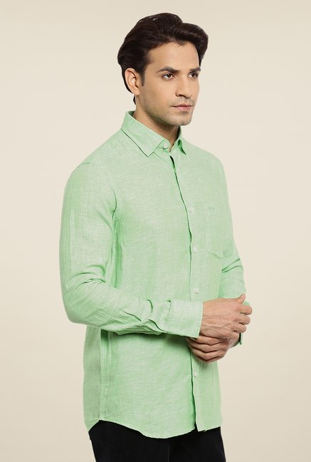 ColorPlus Green Textured Linen Shirt