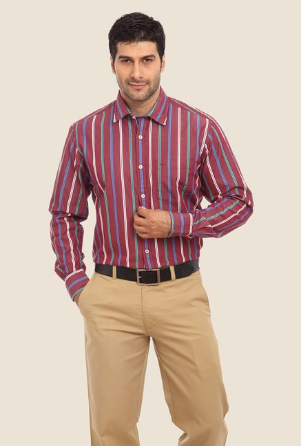 ColorPlus Maroon Striped Shirt