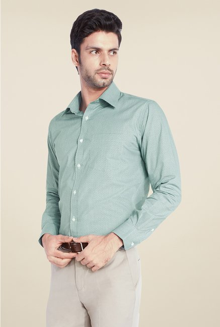 Park Avenue Green Printed Cotton Shirt