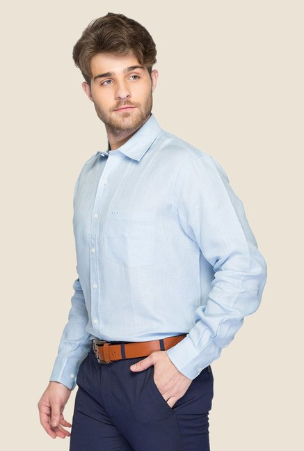ColorPlus Light Blue Solid Linen Shirt